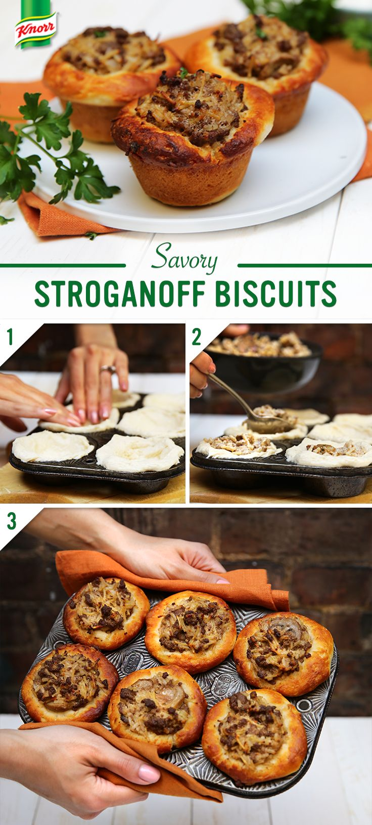 Need a simple, family (and budget) friendly dinner tonight? Follow this easy recipe for 20-Minute Stroganoff Muffin Bites! Enjoy as an appetizer, twist on dinner, party food, or anytime flavorful treat. 1. Preheat oven to 350°. Line muffin pans with buttermilk biscuits by pressing bread on bottom & up sides of pan. 2. Fill each muffin w/ 1/4 cup of Knorr's 20-Minute Stroganoff and bake until golden. 3. Garnish with sour cream, chopped parsley, and favorite vegetables.