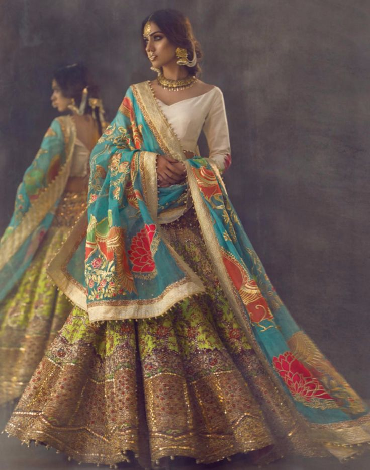 Indian, #Desi #Fashion: Intricately embroidered and brightly colored Indian Wedding Lehenga ensemble