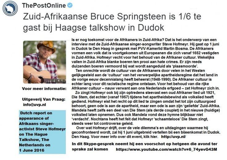 Afrikaans singer-activist describes the Afrikaners' harrowing battle for survival on Dutch TV tallkshow 1 June 2016 | FARMITRACKER