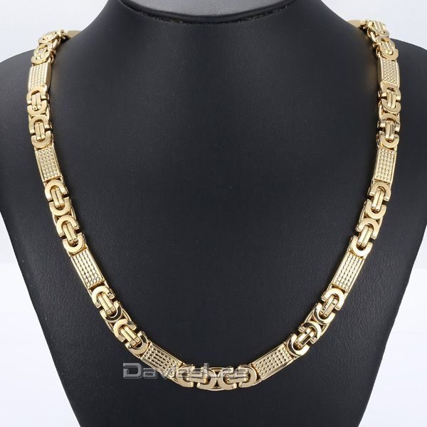 Find More Chain Necklaces Information about Fashion Gift 8mm Mens Chain Boys Necklace Gold Tone Flat Byzantine Link Stainless Steel Necklace/Bracelet 18 36inch DLKN275,High Quality bracelet cz,China bracelet gauge Suppliers, Cheap bracelet mandrel from DaviesLee Fashion Store on Aliexpress.com