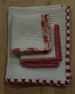 Custom-made dishtowels and dishcloths from waffle-weave muslin - genius!