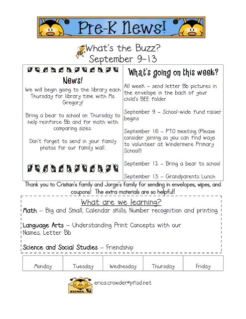 Sprinkles to Kindergarten!: Newsletters KINDERGARTEN NEWSLETTER