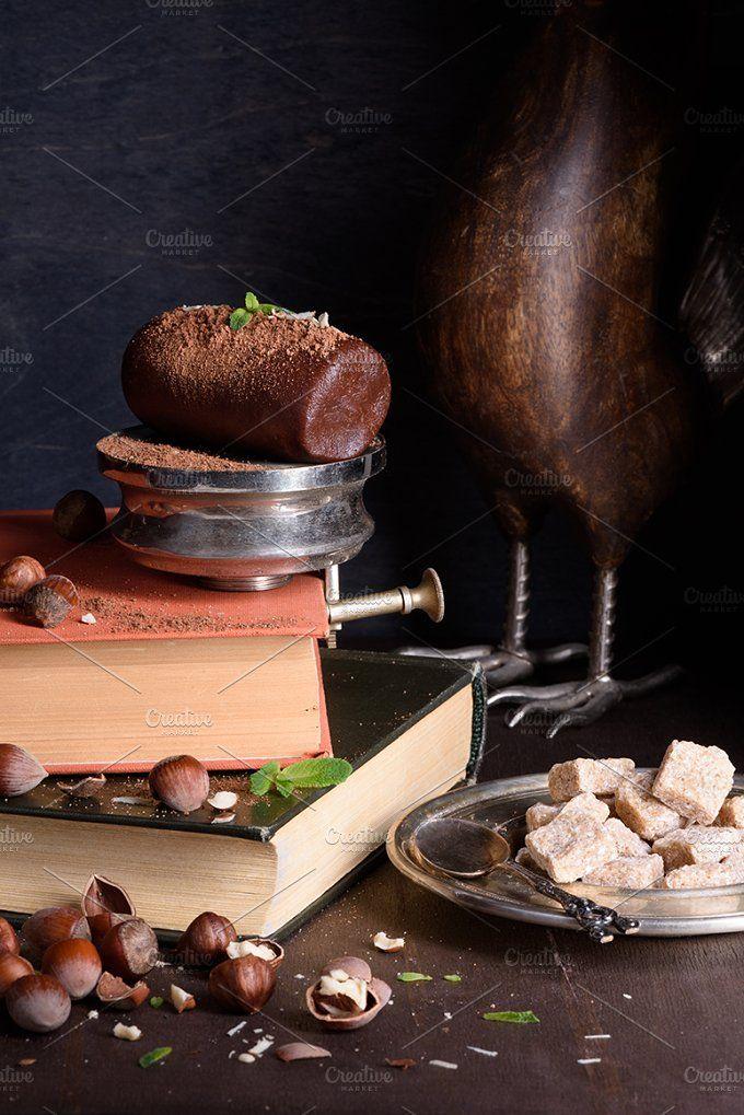 Chocolate truffle dessert, hazelnuts by Iuliia Leonova on @creativemarket