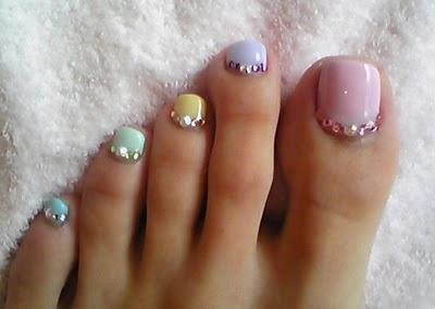 Pastel colored polish with clear rhinestones pedi #nailart