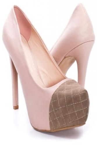 NUDE FAUX LEATHER QUILTED TOE PUMPS HEELS