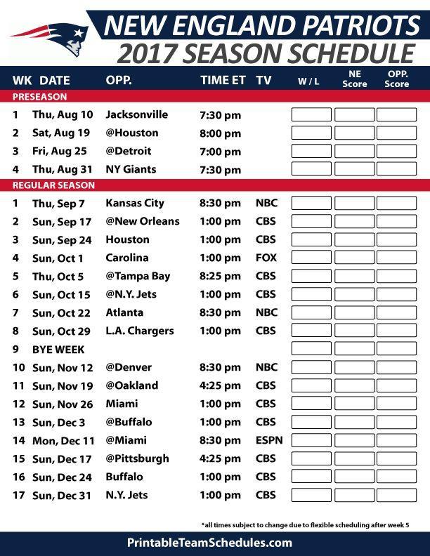 New England Patriots Football Schedule 2017