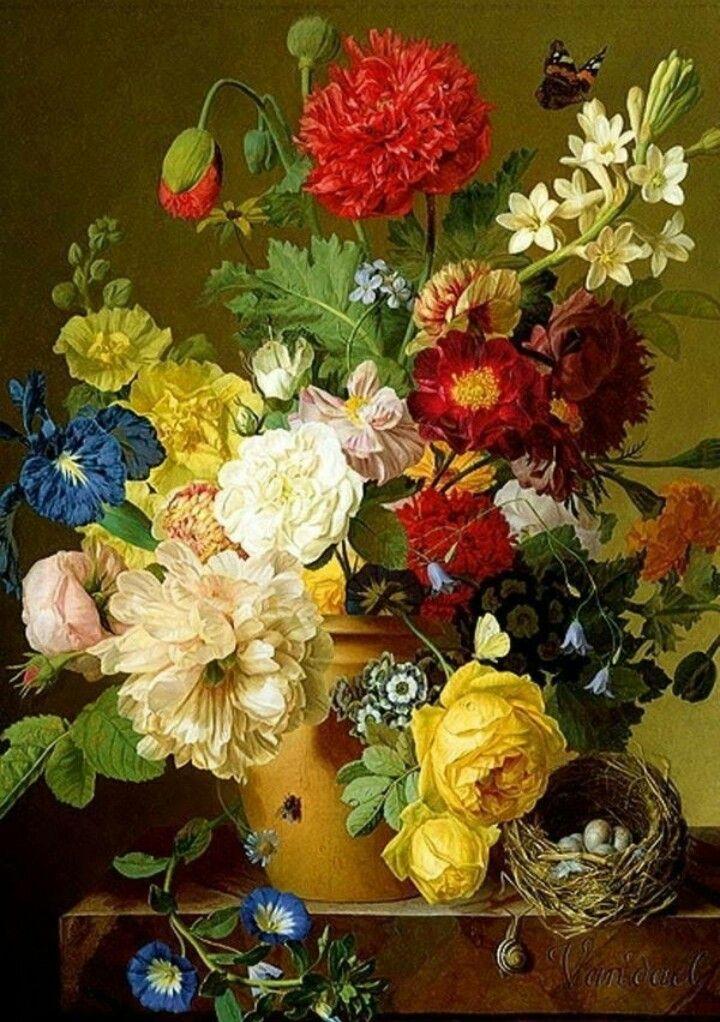 Pintura Flores Pintadas Pinturas Florales Jarron De Flores
