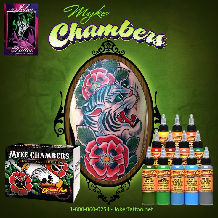 The Myke Chambers Eternal Tattoo Ink Set is a perfect set for creating American Traditional style tattoos.  These colors are vibrant and fly in with ease.