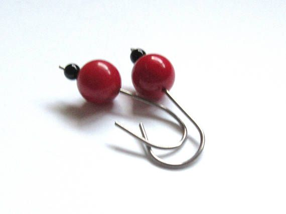 Allergy Safe Niobium Earrings Red Round Sea Bamboo Earrings