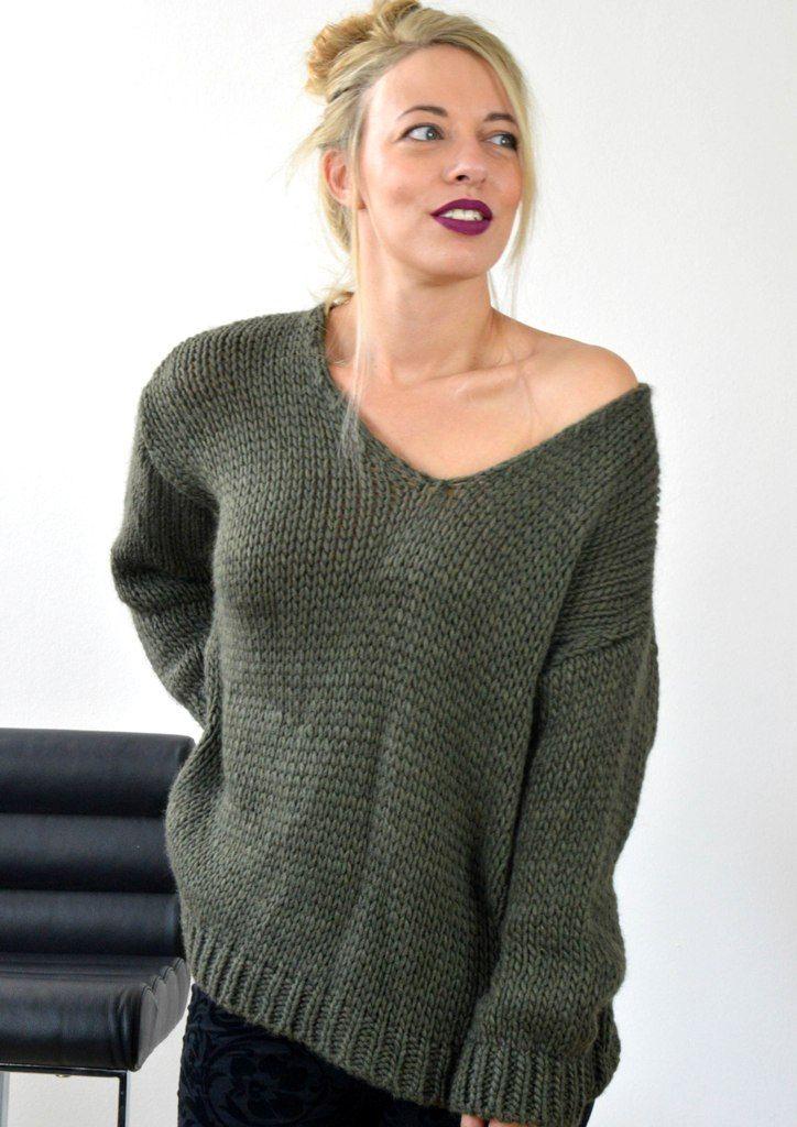 Μπλούζα Πλεκτή με V - ΧΑΚΙ | shop online: www.musitsa.com
