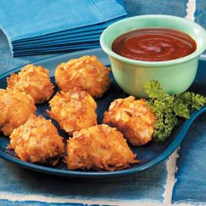 Barbecue Chicken Bites. Use spicy barbecue chips to coat the chicken with and a sweeter sauce to dip.