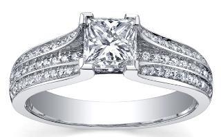 Platinum Collection ~  Platinum diamond ring set with 1.00ct princess cut Maple Leaf Diamonds Canadian centre diamond.  PC220