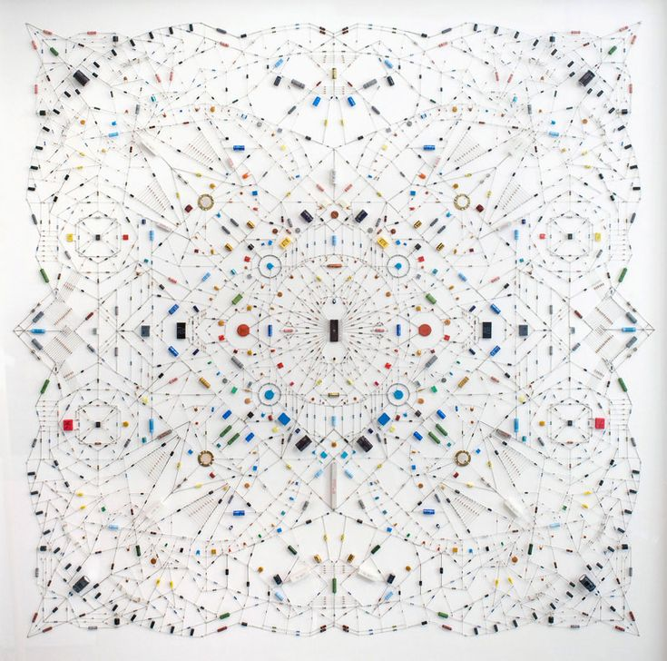 """While traditional mandalas are often associated with weaves and dyes, Italian artist Leonardo Ulian uses electronic parts, chips and circuitry for his technological mandalas. Ulian explains to Co.DESIGN: """"I think of my mandalas as ephemeral gizmos, able to trigger the eyes and minds of the viewers with images and thoughts of any sort, but [...]"""