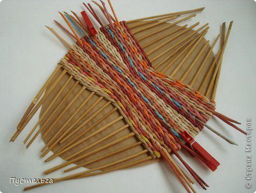 Мастер-класс Поделка изделие Плетение Поднос или утилизация трубочек Бумага газетная Трубочки бумажные фото 4