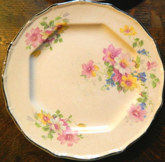 Pair of Pink Floral China Plates with by GinasTreasureTrove, $17.50