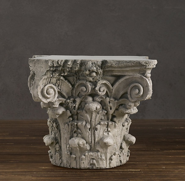 Restoration hardware 39 s scrolling corinthian capital side for Restoration hardware bedside tables