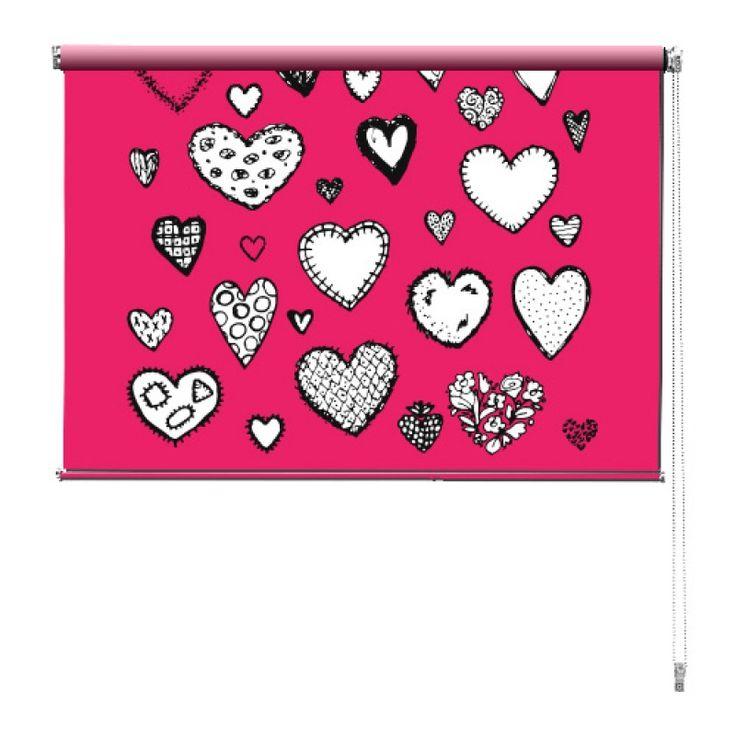 Rolgordijn Getekende hartjes | De rolgordijnen van YouPri zijn iets heel bijzonders! Maak keuze uit een verduisterend of een lichtdoorlatend rolgordijn. Inclusief ophangmechanisme voor wand of plafond! #rolgordijn #gordijn #lichtdoorlatend #verduisterend #goedkoop #voordelig #polyester #hartjes #harten #roze #valentijn #meisje #meisjeskamer #getekend