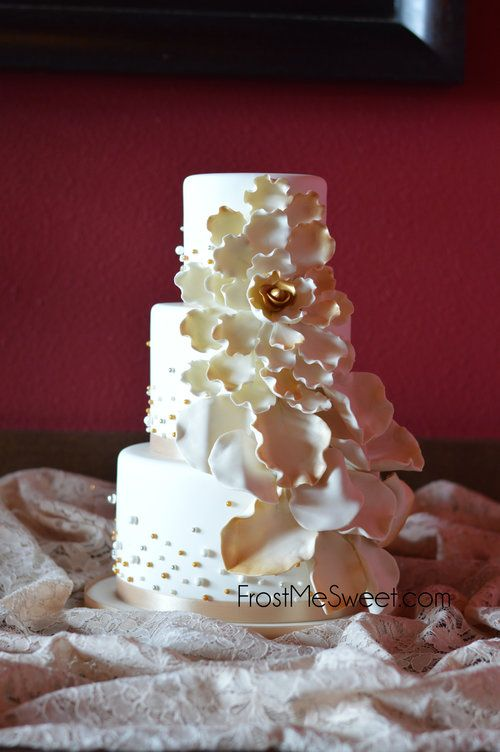 gold silver bronze wedding cake with fondant flower petals by Frost Me Sweet