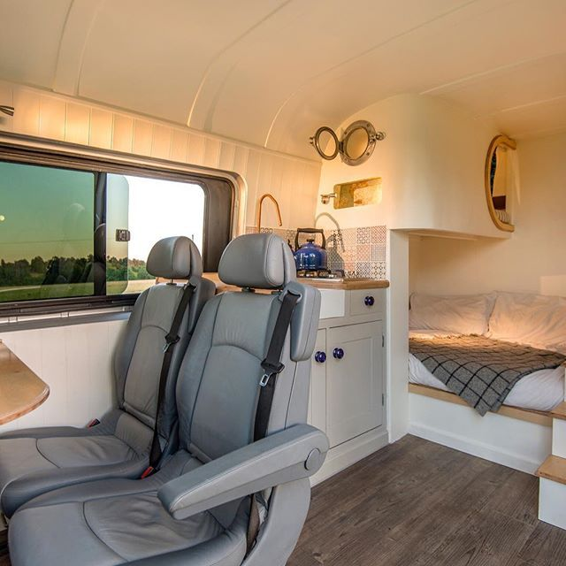 Sprinter Van Remodel-best use of space I've seen so far.  Plenty of sleeping space!  I would make the bunks more open but love the layout!