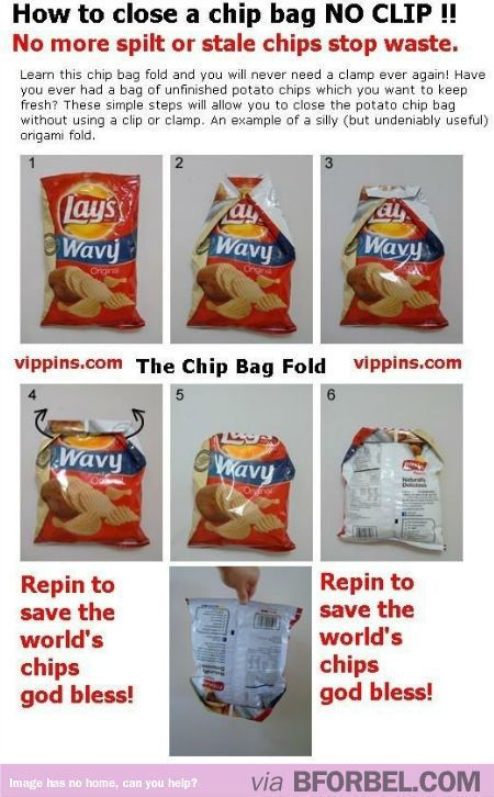 How To Fold Chip Bags So You Don't Need Clips…