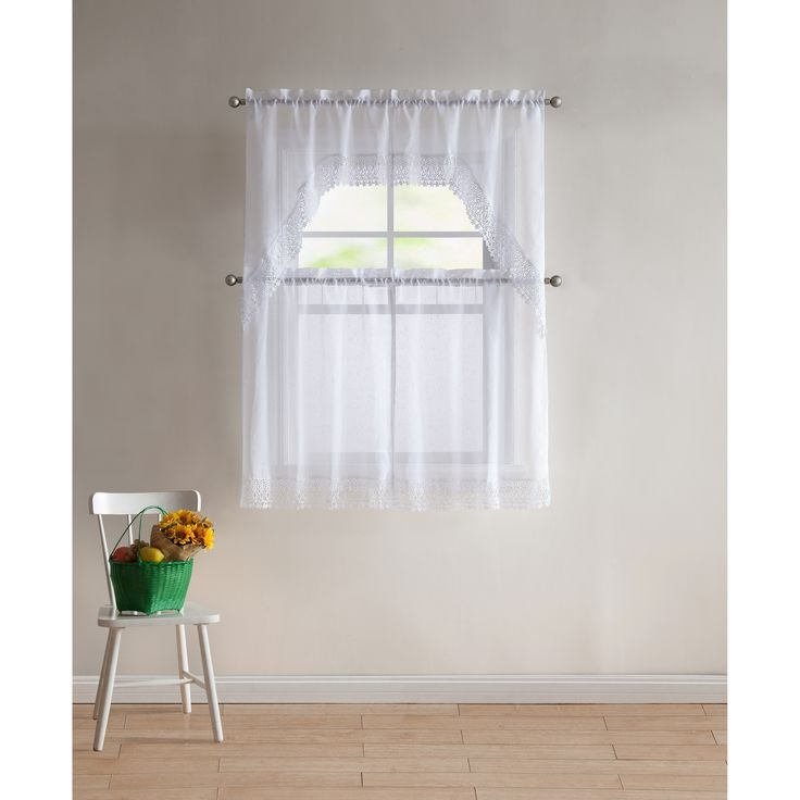Vcny Home Farrah Lace 4-piece Kitchen Curtain Set (White - white) (Polyester, Solid)