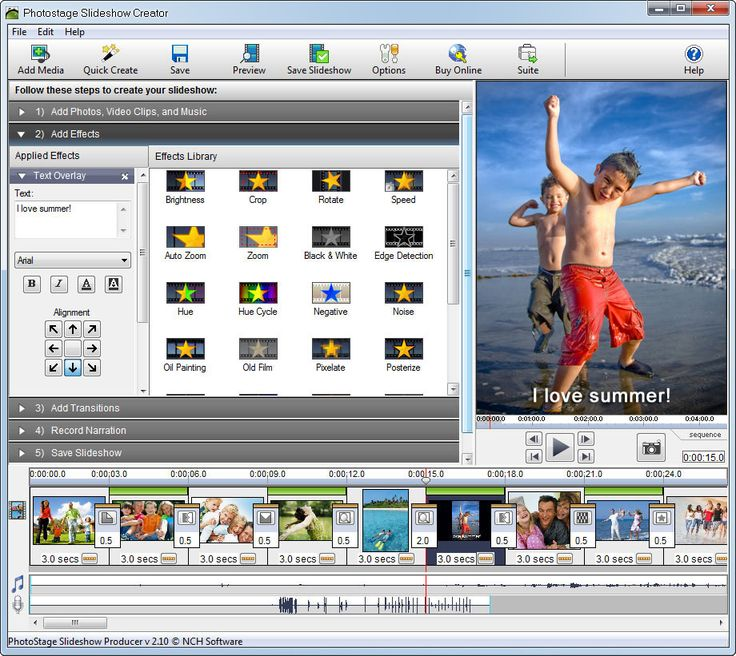 PhotoStage Slideshow Software-Create dynamic slideshows from your photos quickly & easily. Creating a photo slideshow has never been easier. Share your memories with a multimedia slideshow. Easily combine pictures, video clips, music and narration. Burn to DVD, share online or save for portable devices. Drag and drop images to arrange the slides. Or turn a folder of images into a slideshow with Quick Create. Includes zoom, crop, fade, panning, zooming and more to bring your photos to life.