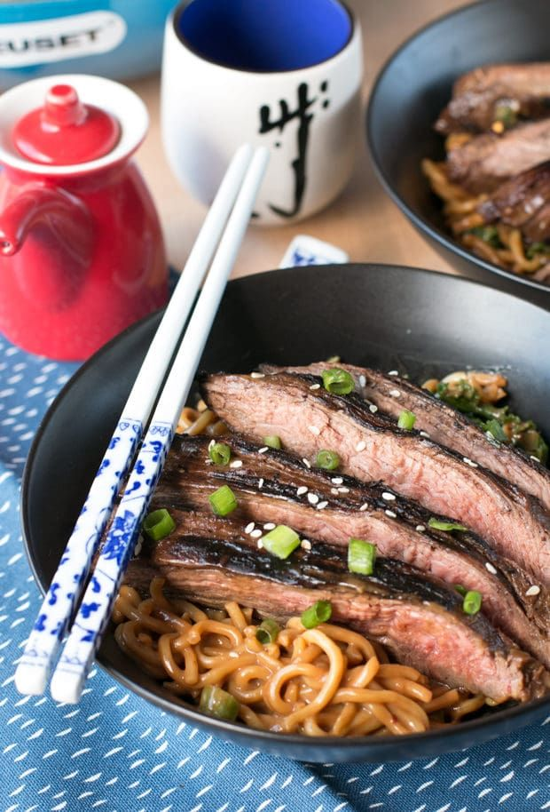 When you really want to impress your boo, you bring out the big guns... Soy Marinated Flank Steak with Creamy Kale Peanut Noodles is the jaw-dropping meal (and secretly oh-so easy!) your date will never forget. | cakenknife.com #dinner #datenight