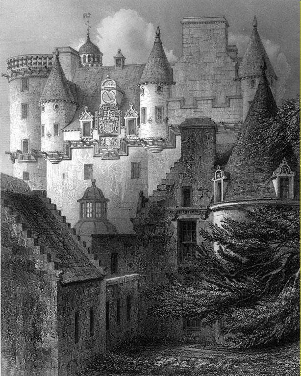 Castle Fraser engraving, Castle Fraser was mostly built between 1575 and 1635. It is a large z-plan tower house with two projecting wings that form a courtyard. Michael Fraser began the construction of the castle, but he died in 1588 leaving the castle unfinished. The work was continued by his son, Andrew Fraser, who in 1633 became the first Lord Fraser.