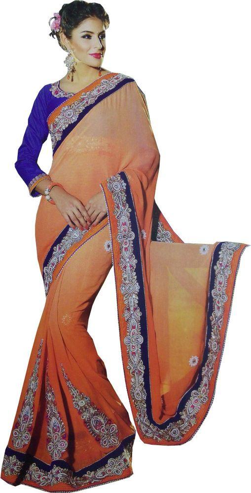 Designer Fancy Saree Indian Bollywood Ethnic Party Wear Orange Wedding Brid Sari #SunriseInternational #WomenEthnicWearBollywoodDesignerWeddingSari
