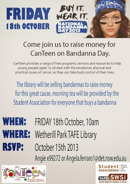 Wetherill Park College Library Bandanna Day! Raise money for youths with cancer #BandannaDay #Cancer #RaiseMoney #GoodCause