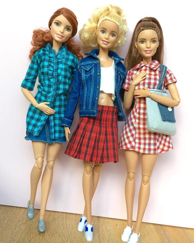 336 отметок «Нравится», 4 комментариев — Emily Polak (@emilypm3) в Instagram: «Denim and checks  Dolls L-R: Fashionista #29 on Made to Move body, Fashionista #14 on Made to…»