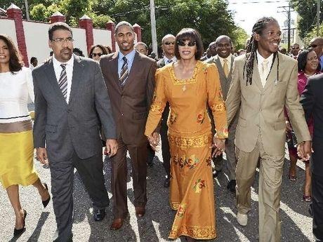 Prime Minister Portia Simpson-Miller walks to Parliament while her team follows. ◆Jamaica - Wikipedia http://en.wikipedia.org/wiki/Jamaica #Jamaica