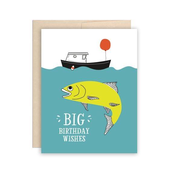 Big Fish Birthday Card Funny Fishing Boat Birthday Card Etsy In 2021 Happy Birthday Fishing Funny Birthday Cards Fishing Birthday Cards