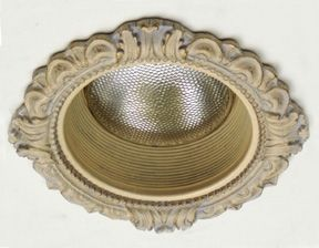"""Beaux-Artes 6"""" Victorian recessed light decorative trim and hand painted baffle in Stone Gold Finish"""