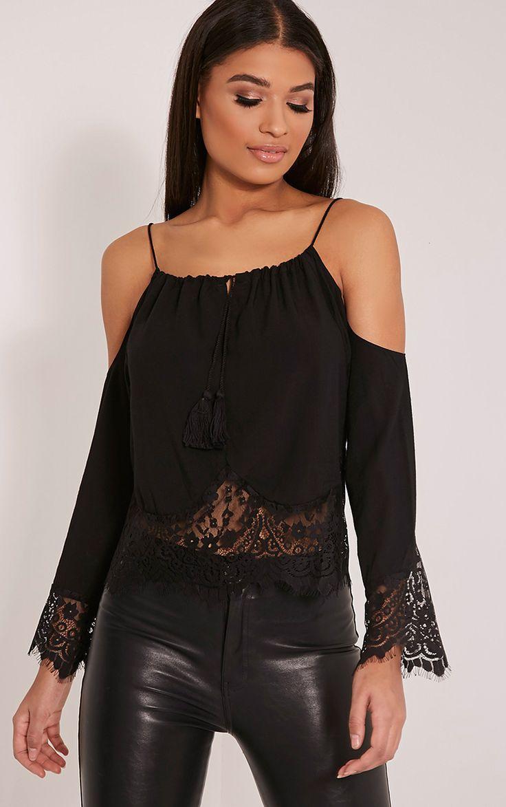 Josette Black Cold Shoulder Lace Trim Crop Top