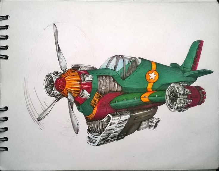 Aircraft sketch. markers, marcadores, ilustración, illustration.