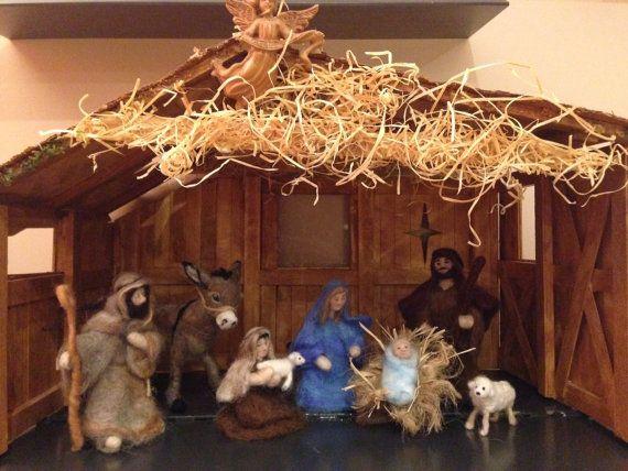 Christmas Nativity set needle felted nativity by artbythebeth