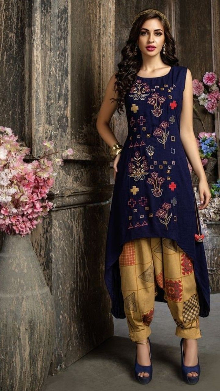 75c5eaad78 All over embroidered glossy cotton kurti in C-cut | dresses in 2019 | Designer  salwar suits, Salwar designs, Dresses