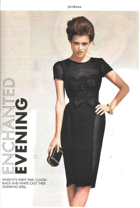 Sunday Life Magazine April 2012 - Collette Dinnigan SS12 Madeleine Cap Sleeve Peplum Dress