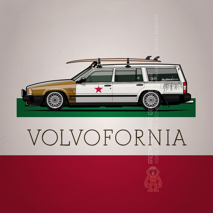 A little preview: Following the iconic #Volvo 240 it's now the 740's turn to resemble the #California flag for Volvofornia.com #surfing #ratrod #Volvo740 #wagonlove | Artsmoto