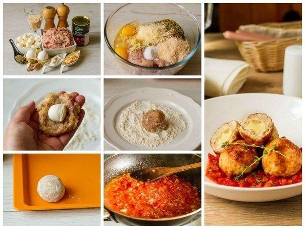 Как приготовить куриные фрикадельки с моцареллой - рецепт, ингридиенты и фотографии