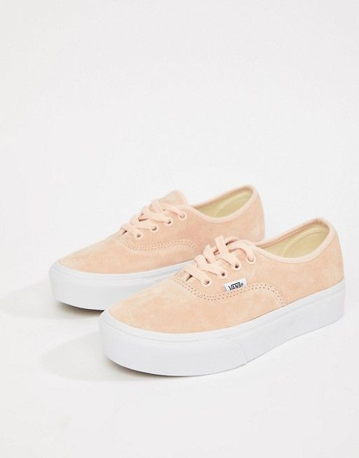 6636eae7b35 Vans Pink Authentic Platform Suede Sneakers