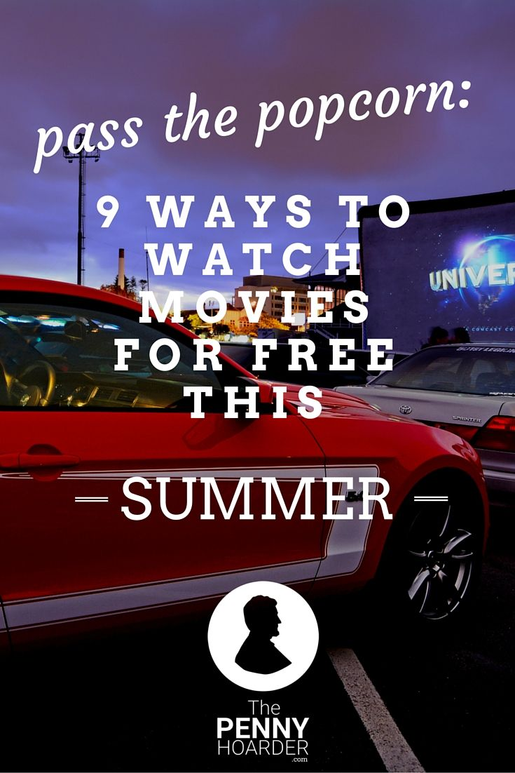 Whether you're looking for something to entertain the kids, you're pumped about the latest blockbuster or you just want to escape the heat, movies are a great option -- but they can be pricey. Not this summer. Here's how to watch movies for free, whether you prefer the big screen or the comforts of your own home. - The Penny Hoarder http://www.thepennyhoarder.com/watch-movies-for-free/