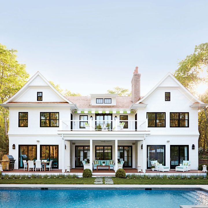 2016 coastal living magazine hamptons showhouse swimming for Black and white house exterior design