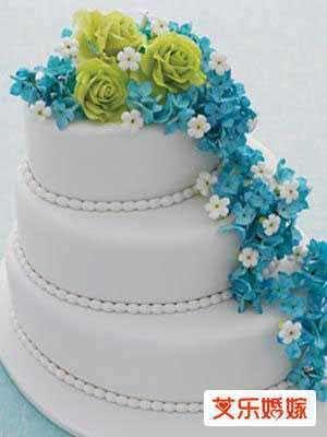 piece montee fleur gateau dessert mariage blanc bleu