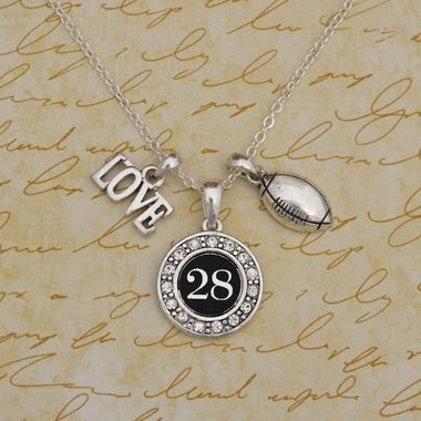 Custom Number 3 Charm Football Necklace