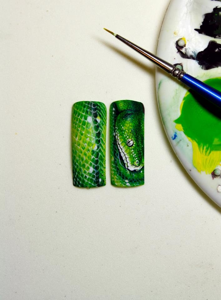 Green Python   Nail Art by Pisut Masanong #nail #nails #nailart