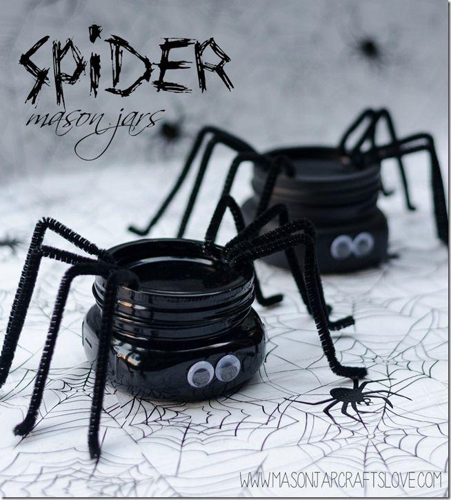 DIY Spider Mason Jars Tutorial for Halloween