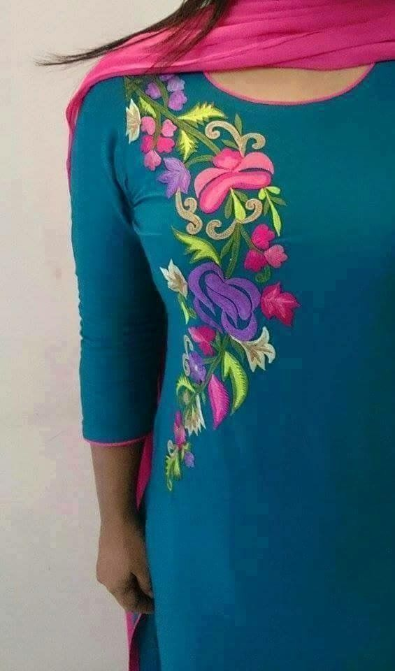 Salwar suit :) Beautiful embroidery patern visit us at https://www.facebook.com/punjabisboutique
