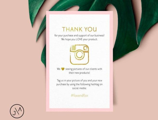 Design Amazon Thank You Card Product Insert